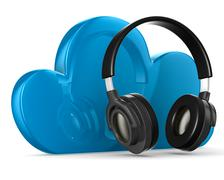 Cloud and headphone on white background. Isolated 3D image Piirros