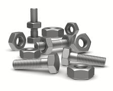 Bolts and nuts on white background. Isolated 3D image - stock illustration