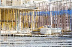 Monolithic frame construction of the building. Solid walls of concrete. The f - stock photo