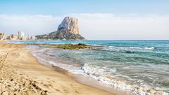 Calpe, Alicante, Arenal Bol beach with Penon de Ifach mountain. Spain. Stock Photos