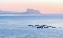 Fish breeding with tanks directly into the sea, Spain Stock Photos