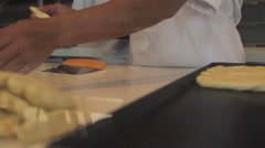 Pastry Chef Working Dough Stock Footage