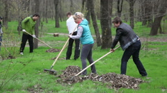 Melitopol. Ukraine. People cleaning a city park. Stock Footage