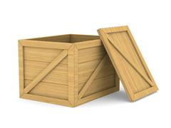 Empty wooden box. Isolated 3D image Stock Illustration