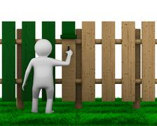 Man paints fence on white background. Isolated 3D image Piirros
