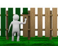 man paints fence on white background. Isolated 3D image - stock illustration