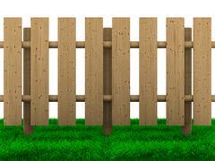 wooden fence on white background. Isolated 3D image - stock illustration