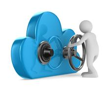 Cloud with lock on white background. Isolated 3D image - stock illustration