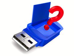 usb flash drive on white background. Isolated 3D image - stock illustration