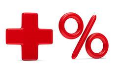 Increase percent on white background. Isolated 3D image - stock illustration