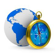 compass and globe on white background. Isolated 3D image - stock illustration