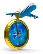 compass and airplane on white background. Isolated 3D image - stock illustration