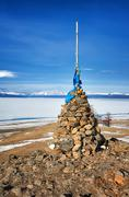 Buddhist cairn of clastic rocks Stock Photos