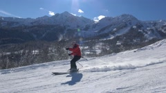 Exciting skiing on the mountain slopes of the Rosa Khutor. Stock Footage