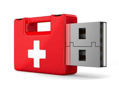 rescue usb flash drive on white background. Isolated 3D image - stock illustration