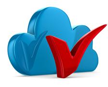Cloud and checkmark on white background. Isolated 3D image - stock illustration