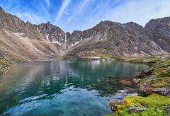 Beautiful water of a mountain lake at range - stock photo