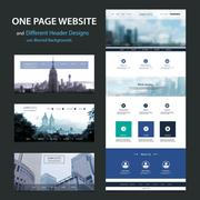 One Page Website Template and Different Header Designs with Blurred Backgrounds - stock illustration