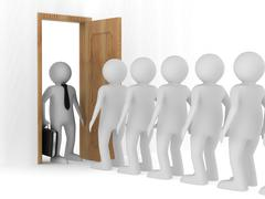 People standing one after another before the open door Stock Illustration