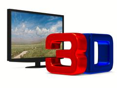 TV on white background. Isolated 3D image - stock illustration