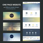 One Page Website Template and Different Header Designs with Blurred Backgrounds Stock Illustration