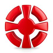 red cross in circle on white background. Isolated 3D image - stock illustration