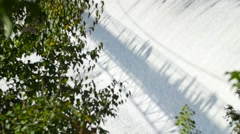 Shadow of a bridge on the Montmorency waterfall in Quebec 2 Stock Footage