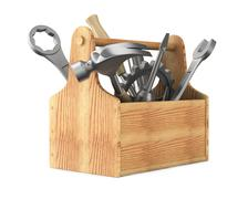 Wooden toolbox with tools. Isolated 3D image Stock Illustration