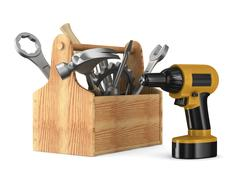 Wooden toolbox with tools. Isolated 3D image - stock illustration