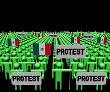 Crowd of people with protest signs and Mexican flags illustration - stock illustration