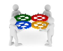 four man with color gear on white background. Isolated 3D image - stock illustration