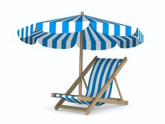 Deckchair and parasol on white background. Isolated 3D image - stock illustration