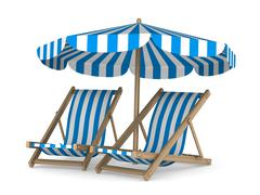 Two deckchair and parasol on white background. Isolated 3D image - stock illustration
