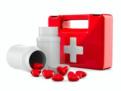 first aid and hearts on white background. Isolated 3D image - stock illustration