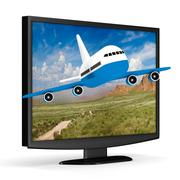 TV and airplane on white background. Isolated 3D image Stock Illustration