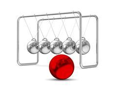 Balancing balls on white background. Isolated 3D image Stock Illustration