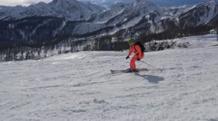 Exciting skiing on the mountain slopes of the Rosa Khutor. - stock footage