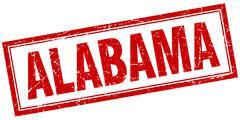 Alabama red square grunge stamp on white - stock illustration
