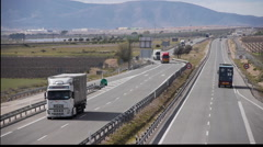 European Highway traffic tele lens stabilized 12 Stock Footage
