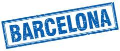 Barcelona blue square grunge stamp on white - stock illustration