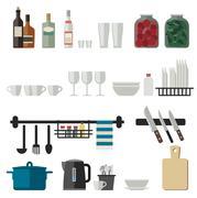 Kitchenware flat icons - stock illustration