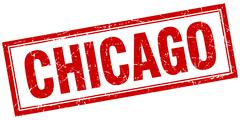 Chicago red square grunge stamp on white - stock illustration