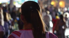 Girl dressed in embroidered dancing at festival Stock Footage