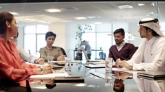 Business people discussing in a meeting at office. Stock Footage