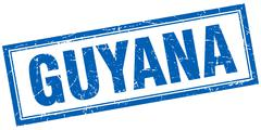 Guyana blue square grunge stamp on white Stock Illustration