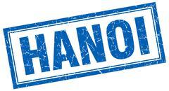 Hanoi blue square grunge stamp on white Stock Illustration