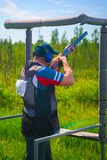 Athletes shoot at targets Stock Photos