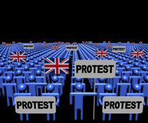 Crowd of people with protest signs and British flags illustration - stock illustration