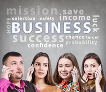 Business people speak on the phone - stock illustration