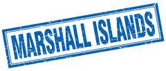 Marshall Islands blue square grunge stamp on white - stock illustration